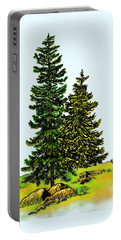 Pine Tree Nature Watercolor Ink Image 2b        Portable Battery Charger
