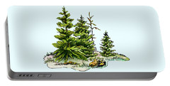 Pine Tree Watercolor Ink Image I         Portable Battery Charger