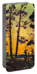 Pine Trees At Sunset Portable Battery Charger