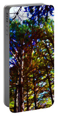 Pine Trees In Abstract 1 Portable Battery Charger