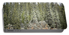 Portable Battery Charger featuring the photograph Pine Trees Rustic Mountain by Andrea Hazel Ihlefeld