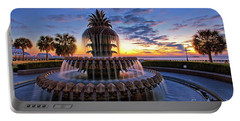 The Pineapple Fountain At Sunrise In Charleston, South Carolina, Usa Portable Battery Charger by Sam Antonio Photography