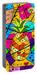 Pineapple Popart By Nico Bielow Portable Battery Charger by Nico Bielow