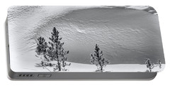 Pines In Snow Drifts Black And White Portable Battery Charger
