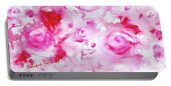 Pink Abstract Floral Portable Battery Charger