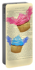 Pink And Blue Cupcakes Vintage Dictionary Art Portable Battery Charger