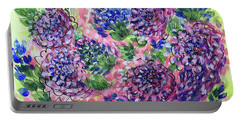 Pink And Blue Flower Flurry Portable Battery Charger