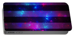 Pink And Blue Striped Galaxy Portable Battery Charger