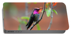 Pink And Gold Anna's Hummingbird Portable Battery Charger