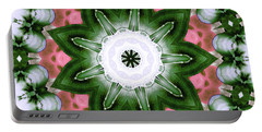Portable Battery Charger featuring the digital art Pink And Green Floral by Shawna Rowe