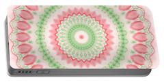 Pink And Green Mandala Fractal 003 Portable Battery Charger