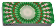 Pink And Green Mandala Fractal 005 Portable Battery Charger