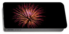 Portable Battery Charger featuring the photograph Pink And Orange Fireworks by Suzanne Luft