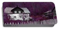Portable Battery Charger featuring the photograph Pink And Purple Enchanted Cottage by Brooke T Ryan
