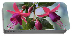 Pink And Purple Fuchsia Portable Battery Charger by Terence Davis