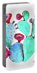 Pink And Teal Cactus Portable Battery Charger