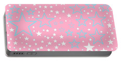 Pink And Turquoise Stars 1 Portable Battery Charger