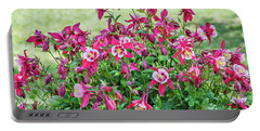 Pink And White Columbine Portable Battery Charger