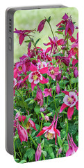 Portable Battery Charger featuring the photograph Pink And White Columbine by Sue Smith