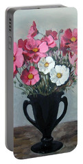 Pink And White Cosmos In Black Glass Vase Portable Battery Charger