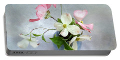 Pink And White Dogwood Still Portable Battery Charger by Louise Kumpf