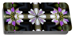 Pink And White Flowers Abstract Portable Battery Charger