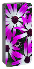 Pink And White Flowers Portable Battery Charger by Vizual Studio