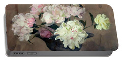 Pink And White Peonies In Footed Silver Bowl Portable Battery Charger