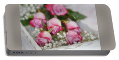Portable Battery Charger featuring the photograph Pink And White Roses In White Box 2 by Diane Alexander