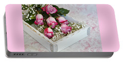 Pink And White Roses In White Box Portable Battery Charger