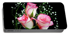 Pink And White Roses Portable Battery Charger