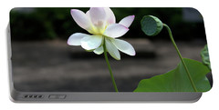 Pink And White Water Lily With Green Pod Portable Battery Charger