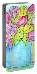 Pink And Yellow Tulips Portable Battery Charger