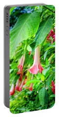 Pink Bell Flowers Portable Battery Charger