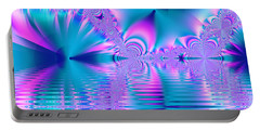 Pink, Blue And Turquoise Fractal Lake Portable Battery Charger