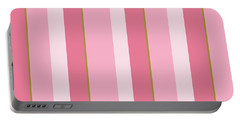 Portable Battery Charger featuring the mixed media Pink Blush Stripe Pattern by Christina Rollo