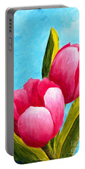 Pink Bubblegum Tulips I Portable Battery Charger