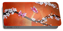 Pink Butterflies And Cherry Blossom Portable Battery Charger