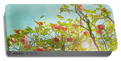 Pink Camellia Japonica Blossoms And Sun In Blue Sky Portable Battery Charger