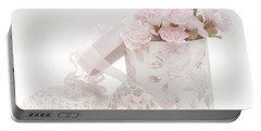Pink Carnations In Rose Box Portable Battery Charger by Sandra Foster