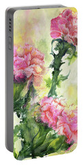 Pink Carnations Portable Battery Charger