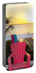 Pink Chair In The Keys Portable Battery Charger