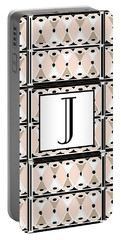 Pink Champagne Deco Monogram  J Portable Battery Charger