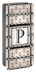 Pink Champagne Deco Monogram  P Portable Battery Charger