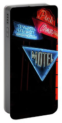 Portable Battery Charger featuring the photograph Pink Champagne Motel by Kristia Adams