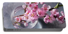 Pink Cherry Blossom Portable Battery Charger by Anastasy Yarmolovich