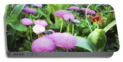 Pink Chrysanthemums In Monets Garden  Portable Battery Charger