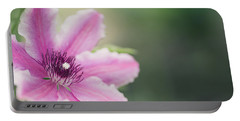 Pink Clematis Portable Battery Charger by Rebecca Cozart
