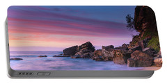 Pink Clouds And Rocky Headland Seascape Portable Battery Charger