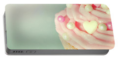 Portable Battery Charger featuring the photograph Pink Cupcake With Lovehearts by Lyn Randle